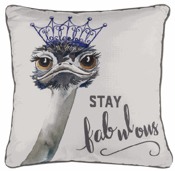 "16"" Pillow with glamorous tiara-wearing ostrich"