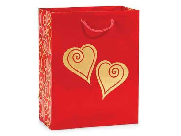 Gold Scroll Heart Gift Bag 8 x 10 Valentine The Nut House