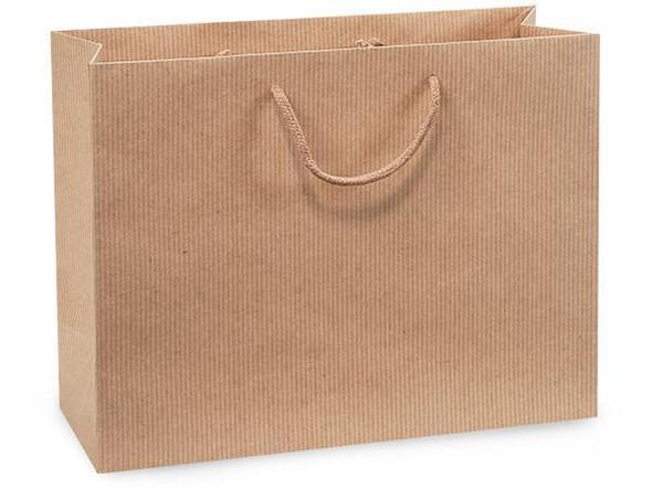 "Kraft Pinstripe Gift Bags, Medium 13x5x10"""