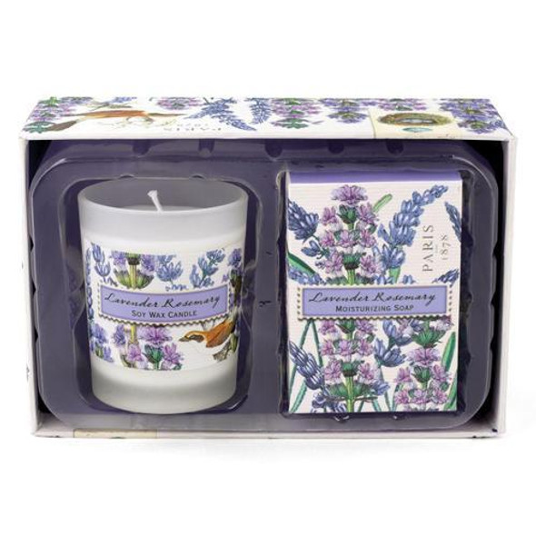 Unmistakable scent of lavender with rosemary and a hint of eucalyptus. Beautifully gift boxed duo of the moisturizing soap and scented soy candle. Soap: 2.1 oz. / 60 g Candle: 2.5 oz. / 70 g, approximately 12 hrs. burn time.