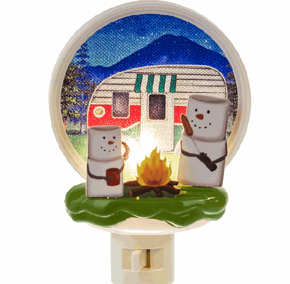 Popular S'mores marshmallow people getting toasty around a campfire! Collectible night light.