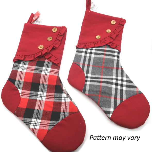 Stocking With Buttons On Cuff Red/Black