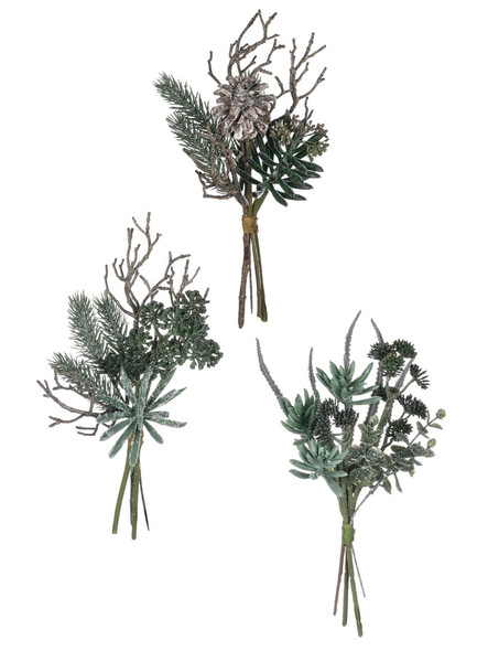 """Keep the Southwest feel all year long with these frosted bundles of various succulent and evergreen stems. Each bundle varies, but all have a realistic feel and sparkle with """"frost""""."""