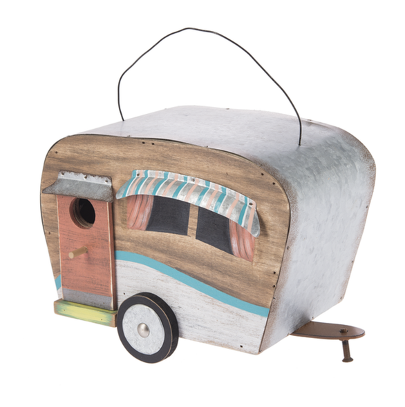 "Functional wooden birdhouse with metal roof, awnings, and  accents looks adorable hanging on your porch, in your garden room, or under your RV canopy. Hand painted details with coastal flair and colors: pink, turquoise, white and yellow. The 1"" opening should entice birds like chickadees, nuthatches, titmice, and bluebirds."