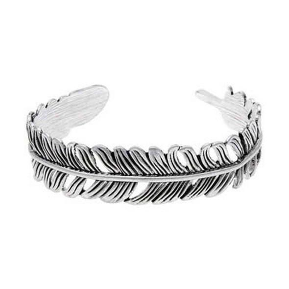 Oxidized Silver Open Back Realistic Feather Cuff Bracelet