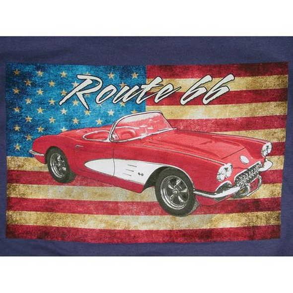 Route 66 Corvette on Flag Blue T-Shirt