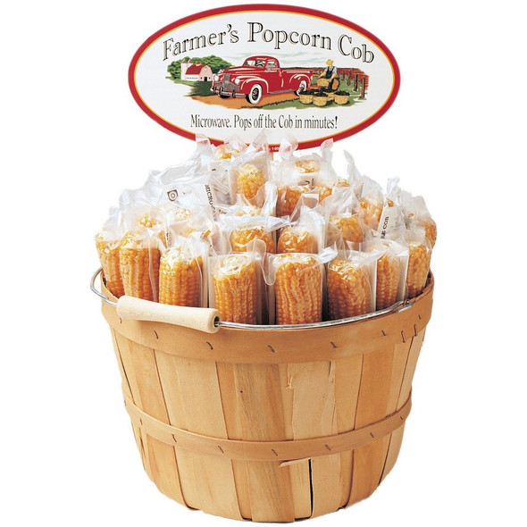 Farmer's Popcorn is Kansas grown, non-GMO corn, that allows you to pop right off the cob! Basket for display purposes only.  Sold Individually.