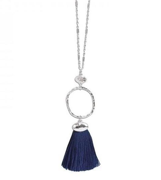 Navy Tassel Necklace