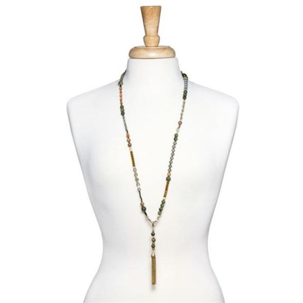 Convertible Tassel Necklace Gold Green