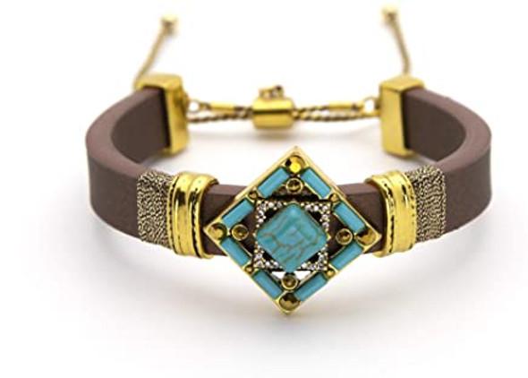 Turquoise Rhinestone Bracelet Brown Band
