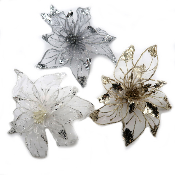 "Mini wired metallic tones on these glitzy flowers create pizzazz when clipped on hair or lapel as a snazzy corsage. Flowers have a wired edge and can be posed open or closed. Open size is about 7"" across. Priced individually: choose  white, silver or gold."