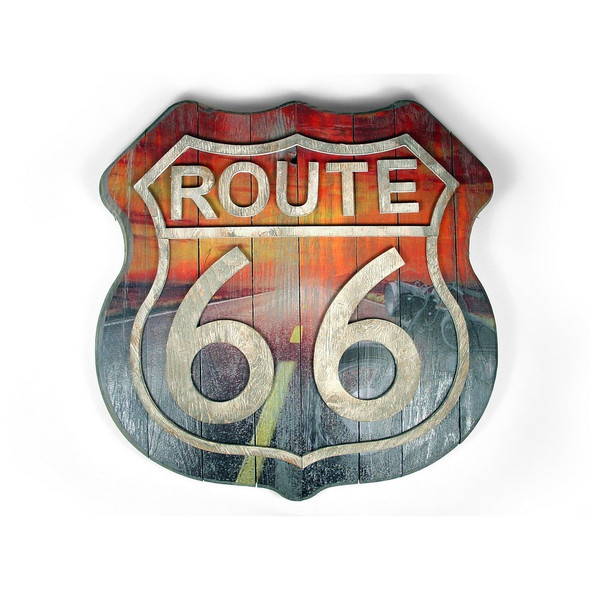 Route 66 Wood Sign Motorcycle