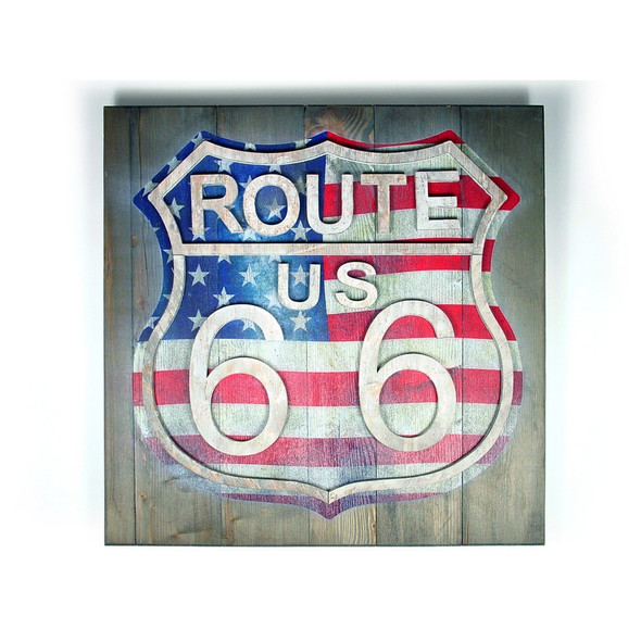 Route 66 Wood Sign USA Flag