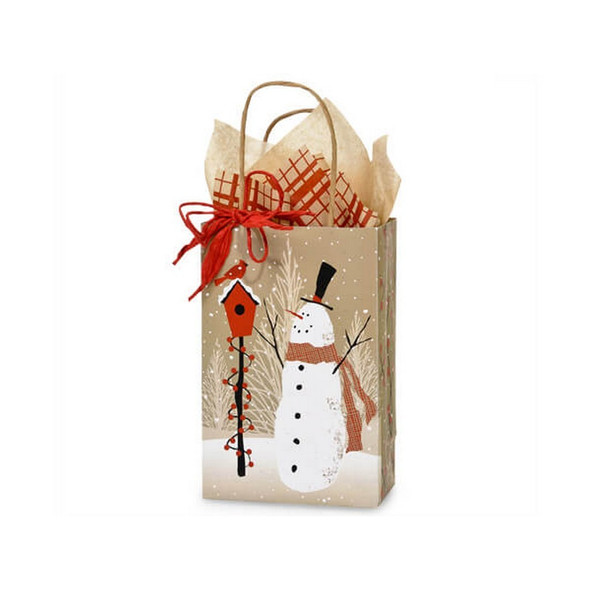 Woodland Snowman Paper Shopping Bags Rose Size