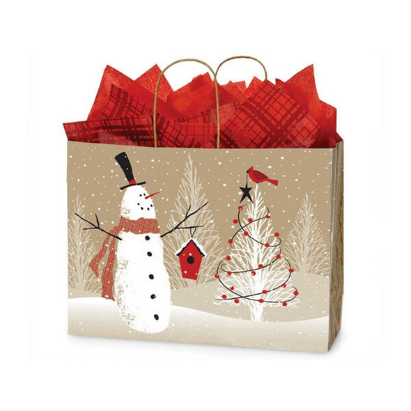 Woodland Snowman Paper Shopping Bags Vogue Size