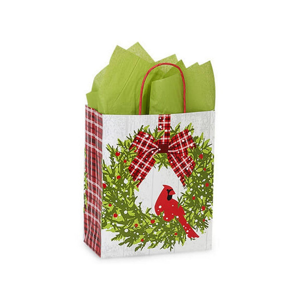 Christmas Plaid Cardinal Shopping Bags Cub Size