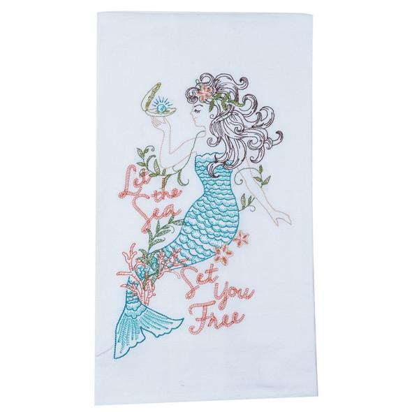 Mermaid Embroidered Flour Sack Towel