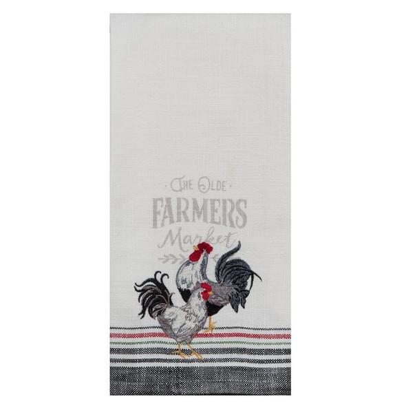 Farmers Market Embroidered Tea Towel
