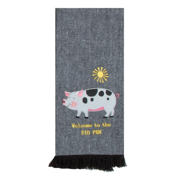 Farm Charm Pig Applique Tea Towel