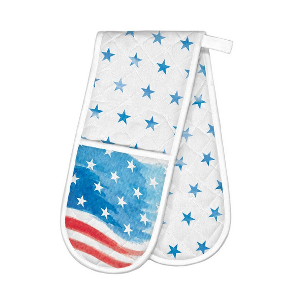 Red White And Blue Double Oven Glove by Michel Design Works