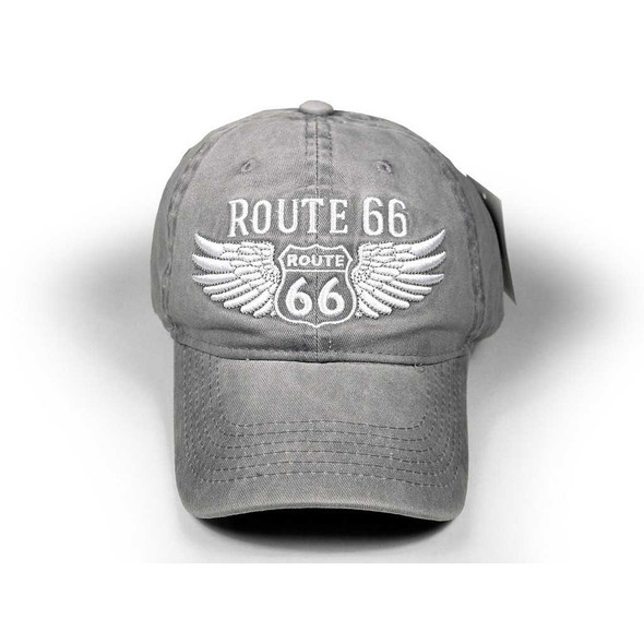 Route 66 Washed Grey Cap with Wings Route 66 Gifts The Nut House