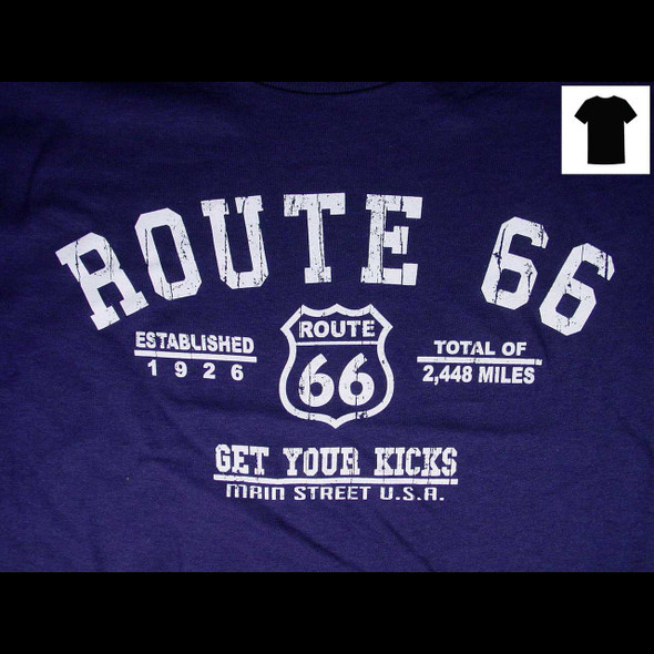 Route 66 Distressed Navy T-Shirt T-Shirts The Nut House