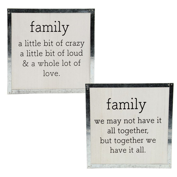"Add country charm to your home decor with this rustic family box sign. White washed box sign features family sentiments and galvanized accent border. 10"" x 10"" square."