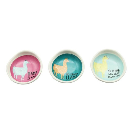"""Ideal for any llama lover! Stoneware trinket dish features bright colored llama design and witty sayings.3"""" dish is perfect for jewelry, rings, or SD cards from your pocket- keep it all safe from the wash or the sink drain!"""
