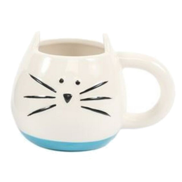 White kitty face has a blue base and embossed black  whisker and face detail. Not microwave safe.