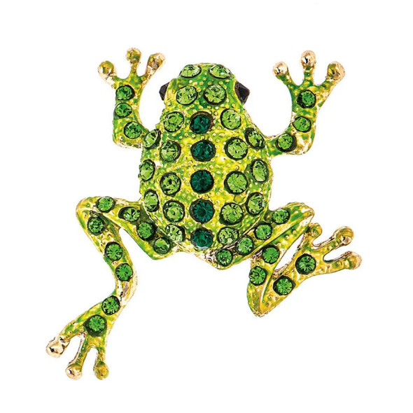 Bright Gold Metal Green Painted Body Green Crystal Accented Frog Brooch Scarf Lapel Pin