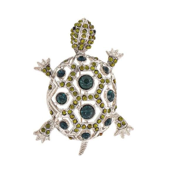 Bright Silver Metal Green and Teal Geometric Design Crystal Turtle Brooch Scarf Lapel Pin