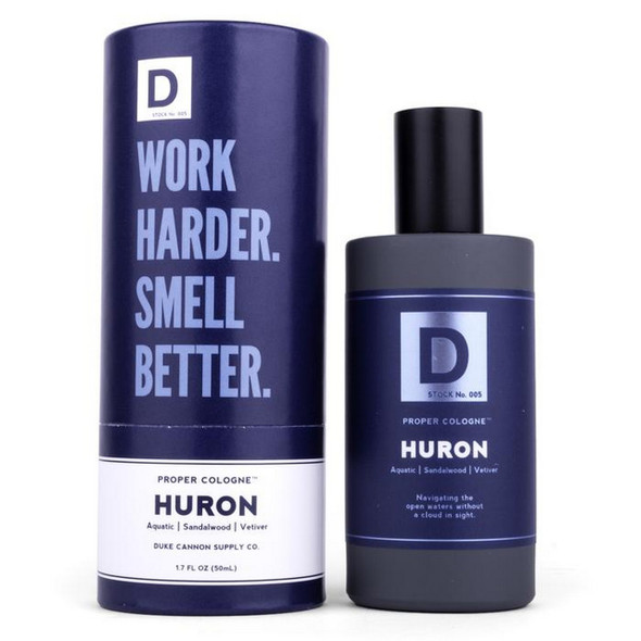 Proper Huron Cologne Duke Cannon Eau de parfume (that means highest quality fragrance) Key Scent Components: Aquatic, Sandalwood, Vetiver Size: 1.7 FL OZ