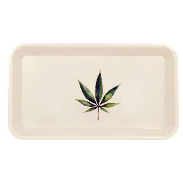 Weed rolling tray with botanical hemp leaf design