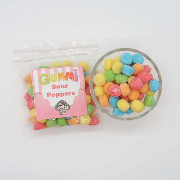 Sour Poppers 8 oz Gummis-Frogs-Worms The Nut House