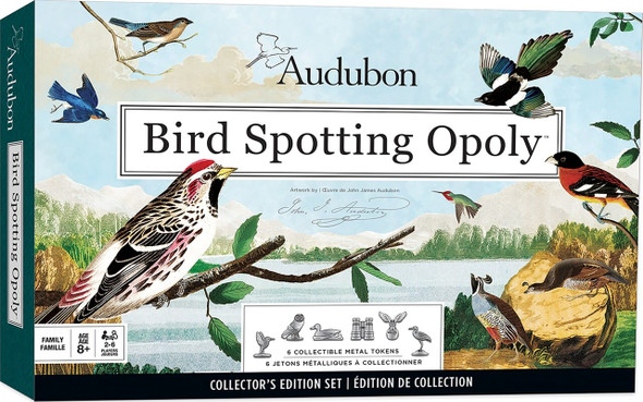 Audubon Bird Spotter Opoly board game with art by John James Audubon.