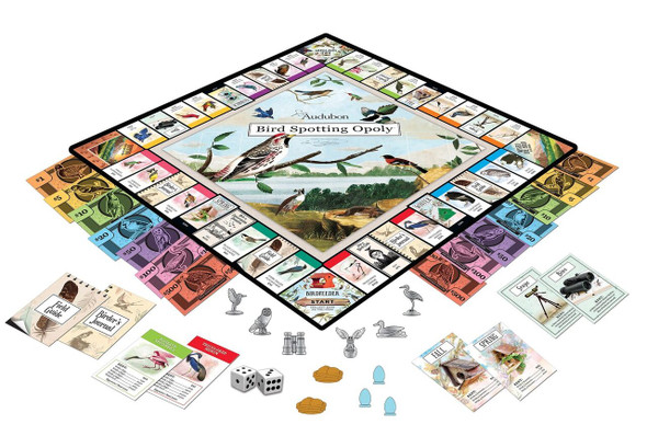 Audubon Bird Spotter Opoly board game with art by John James Audubon. What's inside