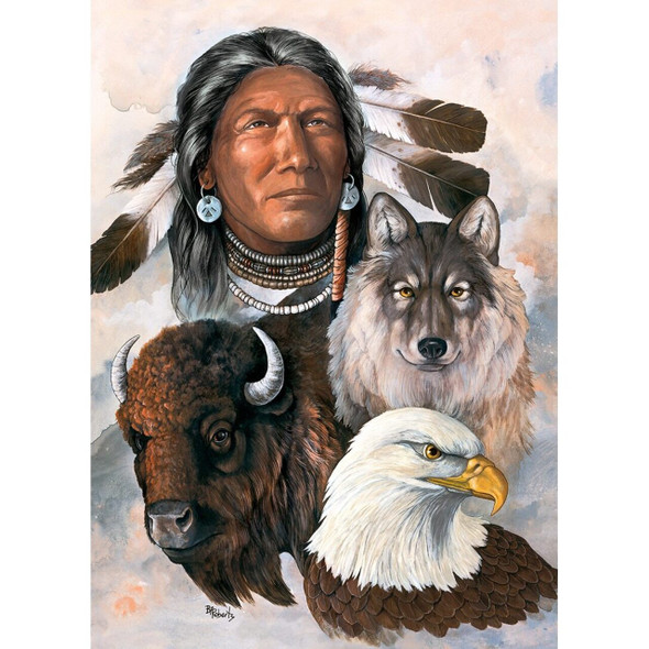 550pc Tribal Spirit Puzzle pays homage to the rich culture and long history of America's Native American Indian Tribes.