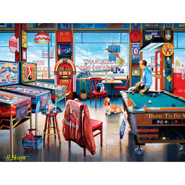 """This MasterPieces 24"""" x 18"""" 550PC of Drive-Ins, Diners and Dives is a fun nostalgia puzzle. Break a rack and have a beer down at Pockets Pool & Pub."""