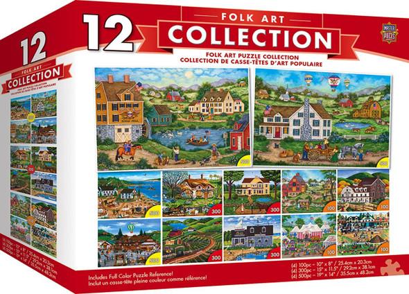 12-Pack Folk Puzzle Bundle features beautiful folk art scenes, painted by talented folk artist, Bonnie White.