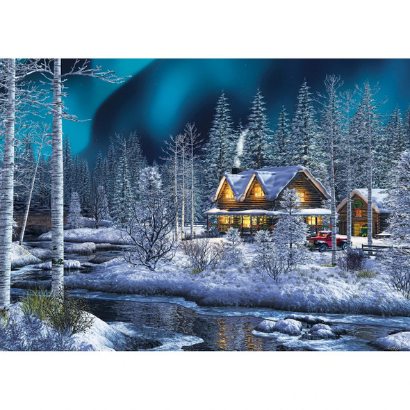 A cozy puzzle just right for the holidays! Northern Lights Puzzle 31856 features a snowy winter scene with glittery snow.