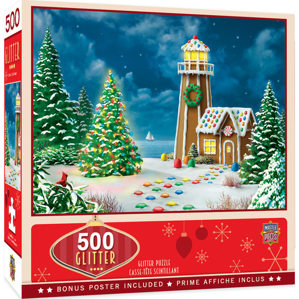 Gingerbread Lighthouse 500 Piece Glitter Holiday Jigsaw Puzzle