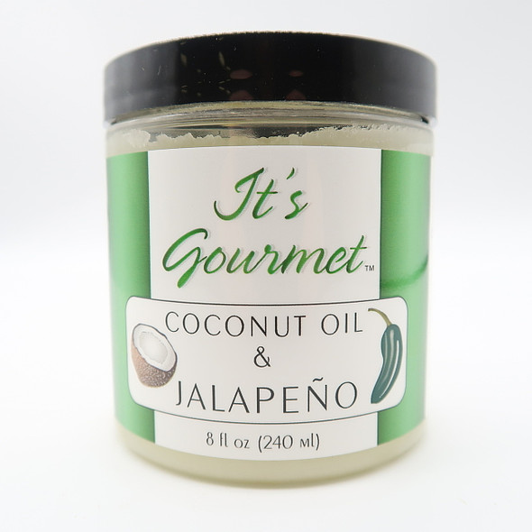 Gourmet Jalapeno Flavor Infused Coconut Oil is Certified organic and non GMO. Contains only extra-virgin coconut oil and jalapeno. Delicious with scrambled eggs, potatoes, vegetables sandwiches, stir-fries, soups, stews and with Mexican cuisines.  Try it on popcorn!
