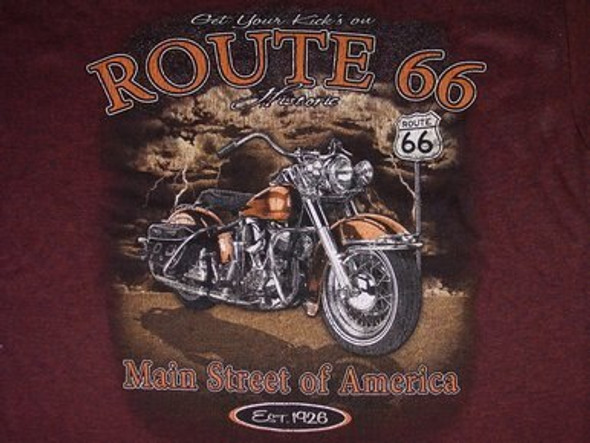 Route 66 Antique Brown T-shirt with motorcycle design