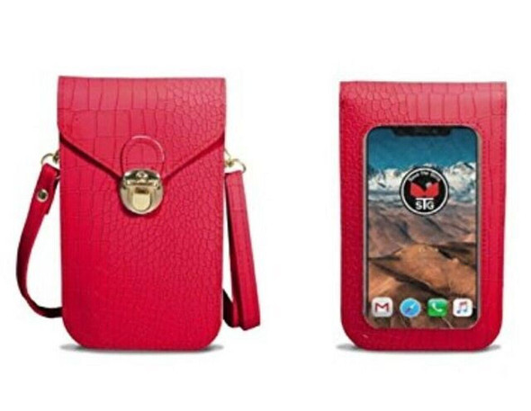 Save The Girls Touch Screen Cell Phone Purse Gator Red