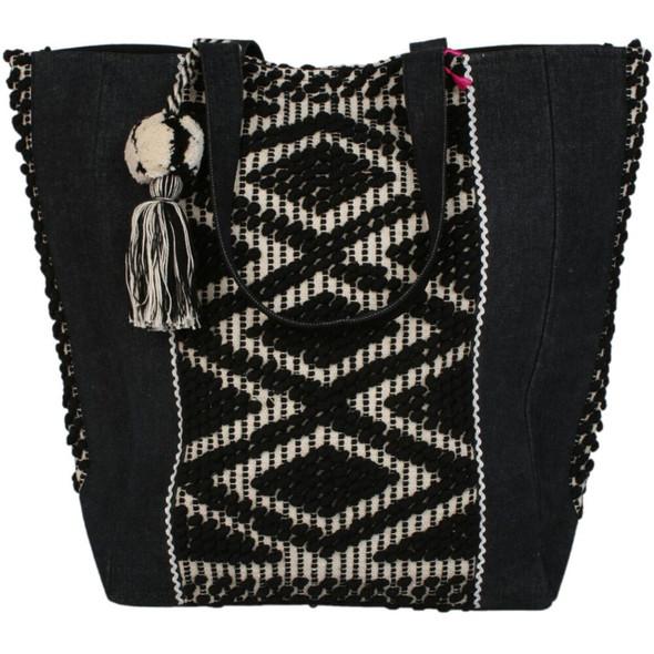 Denim and Aztec Patterned Large Tote Bag Katydid Designs