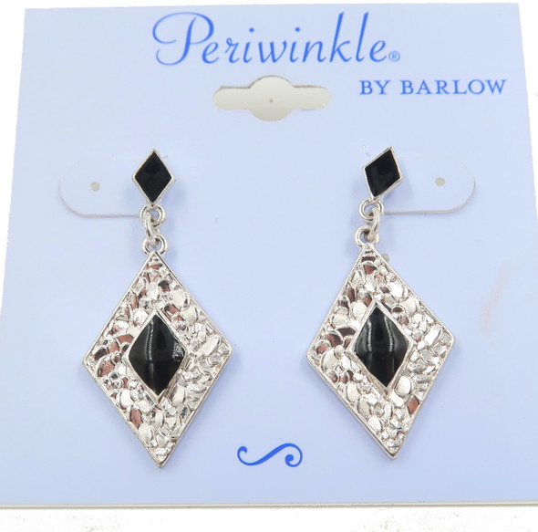 Periwinkle black and silver onyx diamond shaped earrings fish hook