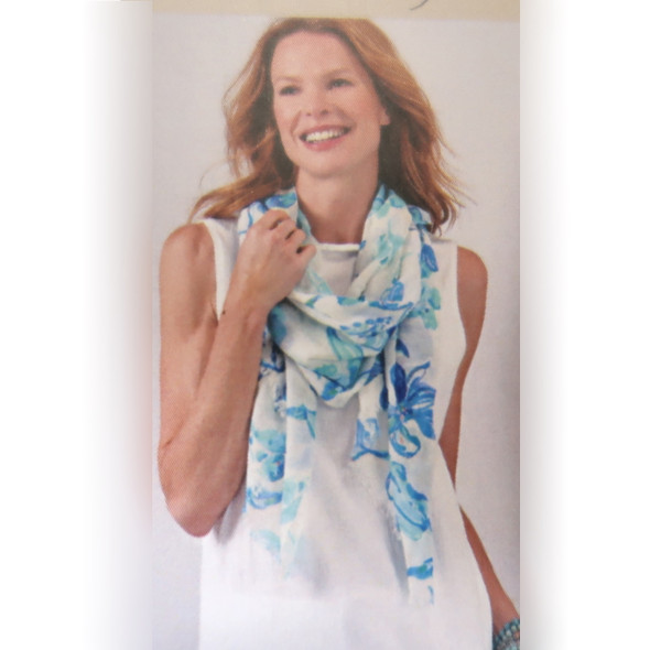Blue Linen Floral Scarf From Charlie Paige- the perfect summer accessory