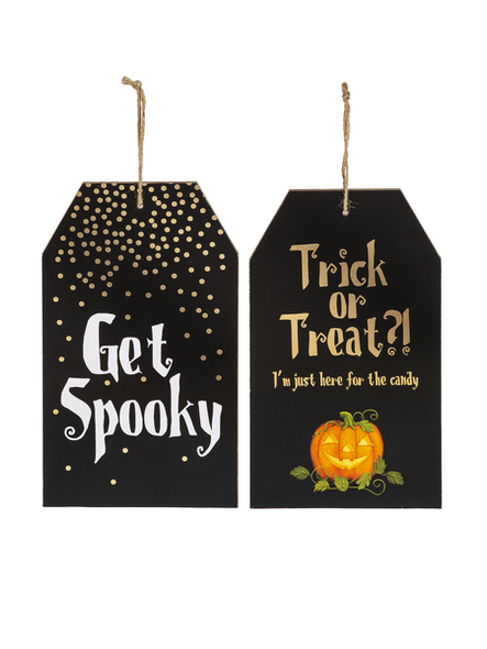 "Halloween Tag signs ""get Spooky"" and ""Trick or Treat"""