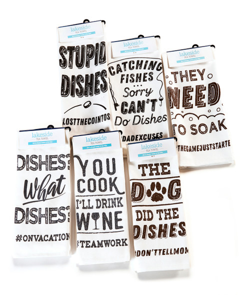Hilarious gift towels with appropriate hashtag adding a snarky comment to a chore we all hate.
