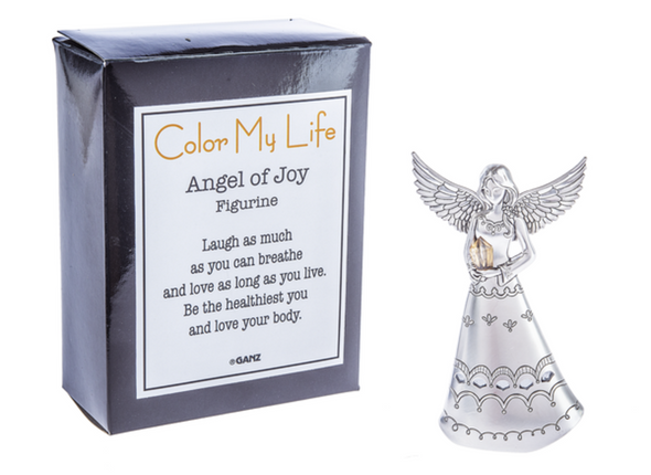 "This Angel of Joy figurine reminds you to laugh and love. Comes with a box that reads: ""Laugh as much as you can breathe and love as long as you live. Be the healthiest you and love your body."" Dimensions: 21/4"" W. x 1"" D. x 35/8"" H."
